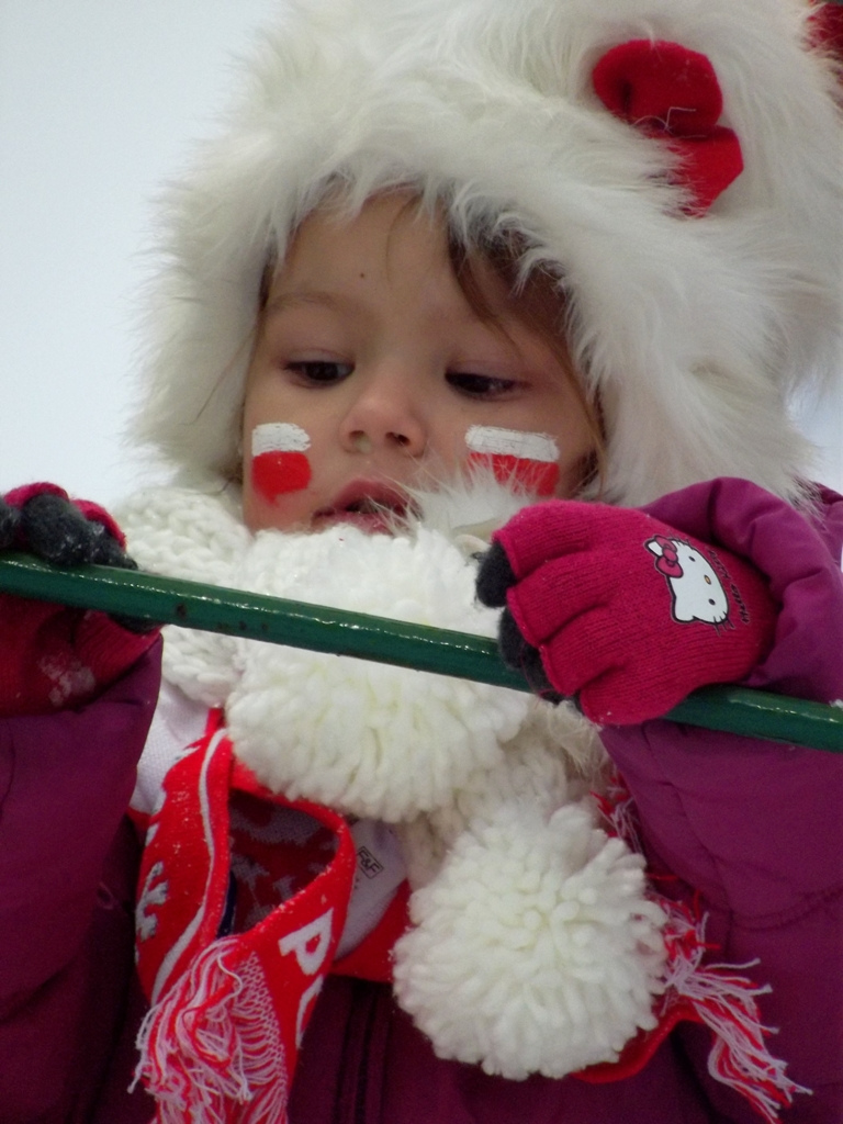 Baby girl with Polish flag